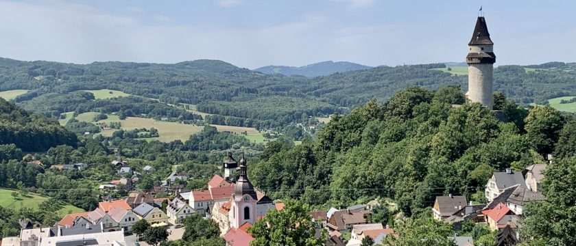 The view of Štramberk from rock formation Rudý